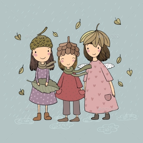 Three Small Forest Fairies. Cartoon Elves. Autumn - People Characters