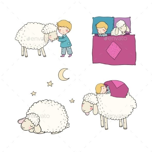 Sleeping Boy and Cute Cartoon Sheep. Good Night - Animals Characters
