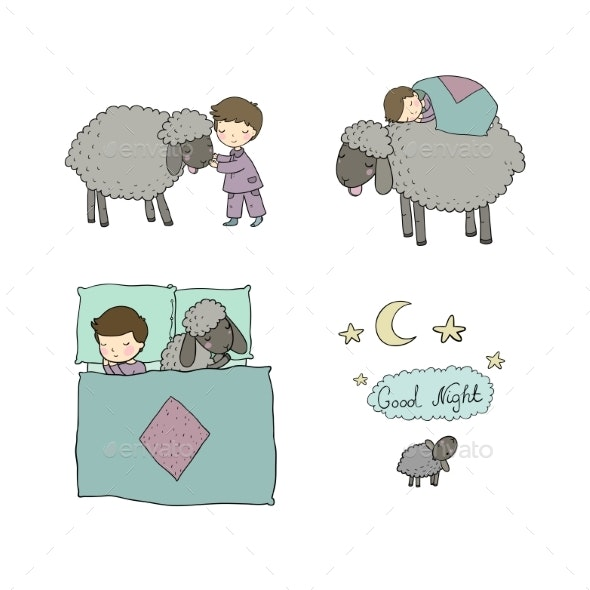 Sleeping Boy and Cute Cartoon Sheep. Good Night - Animals Characters