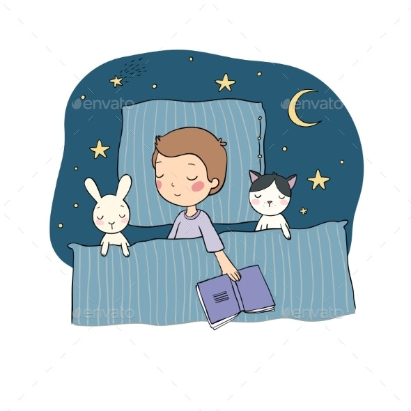 Sleeping Boy. Baby in Bed with Toys. Time To Sleep - Miscellaneous Vectors