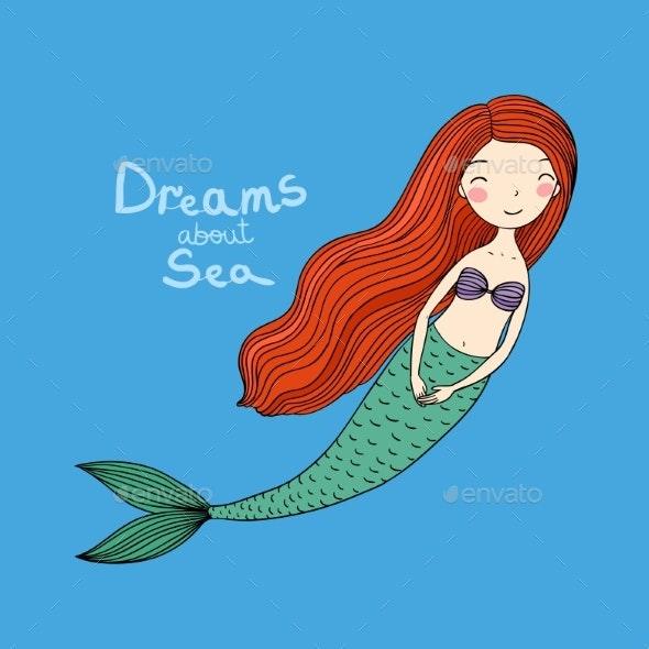 Cute Cartoon Little Mermaid. Siren. Sea Theme. - Animals Characters