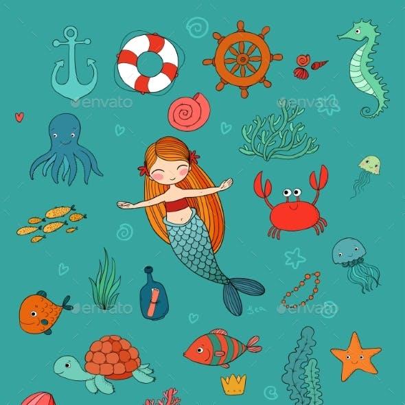 Marine Illustrations Set. Little Cute Cartoon