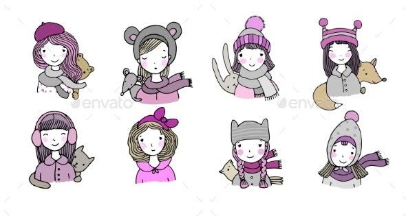 Different Faces. Girls in Winter Hats. Funny - Animals Characters