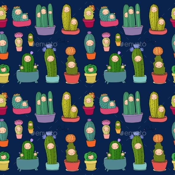 Cartoon Cactus and Succulents in Pots. Vector - Flowers & Plants Nature