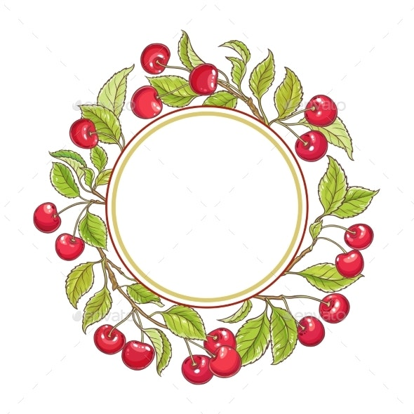 Cherry Branch Vector Frame - Food Objects