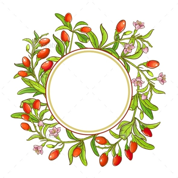 Goji Branch Vector Frame - Food Objects
