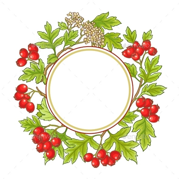 Hawthorn Branch Vector Frame - Food Objects