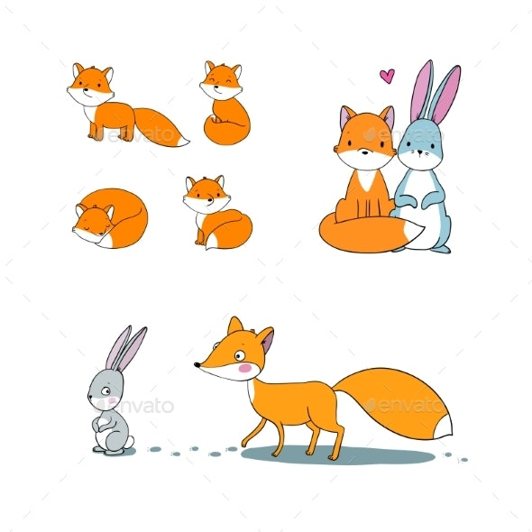 Cartoon Fox and Hare. Fairy Tale Characters - Animals Characters