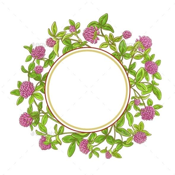 Clover Branch Vector Frame - Flowers & Plants Nature