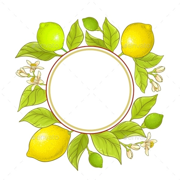Lemon Branch Vector Frame - Food Objects