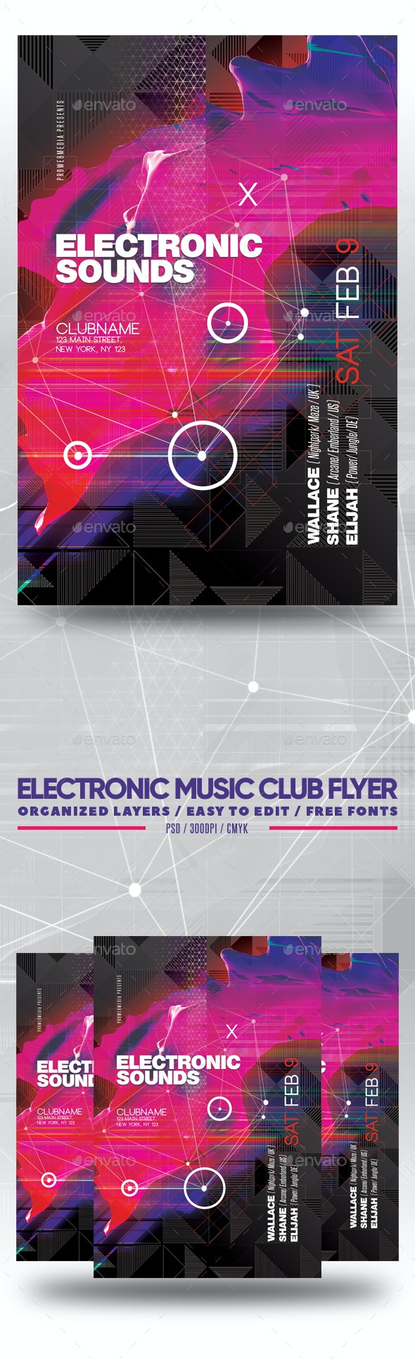 Electronic Music Club Flyer - Clubs & Parties Events