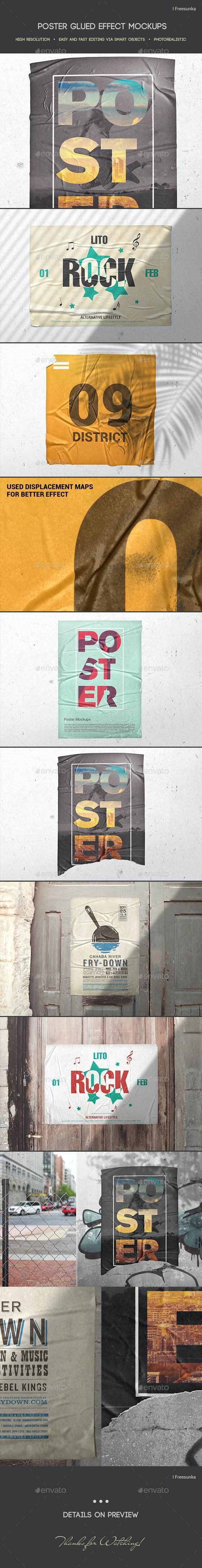 Poster Glued Effect Mockups - Posters Print