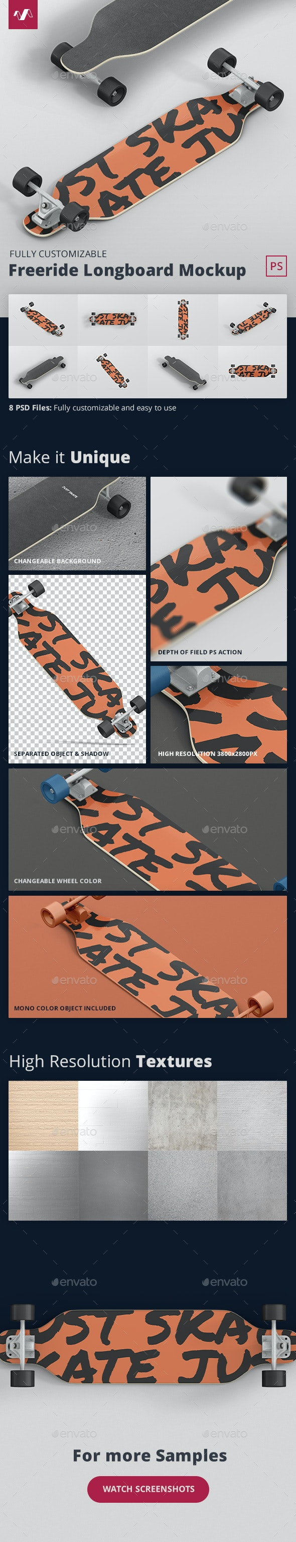 Freeride Longboard Mockup - Miscellaneous Product Mock-Ups