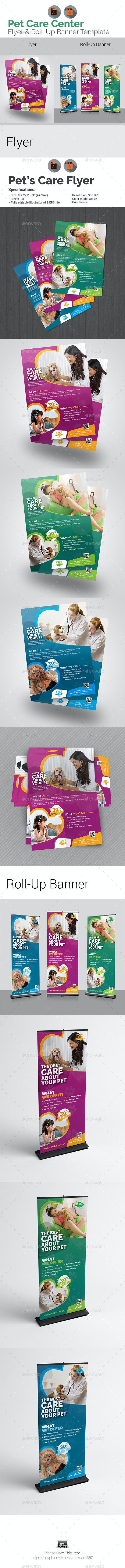 Pet Care Center Flyer with Rollup Bundle - Flyers Print Templates