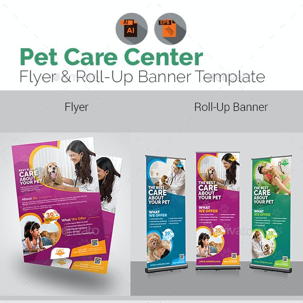 Pet Care Center Flyer with Rollup Bundle