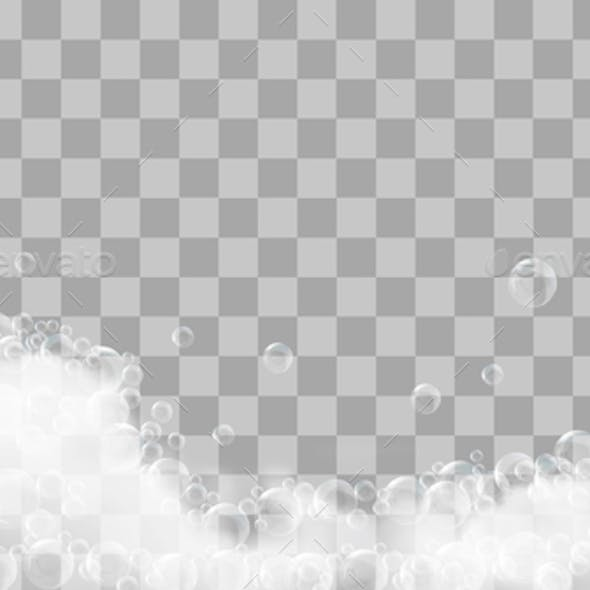 Soap Foam And Bubbles On Transparent Background