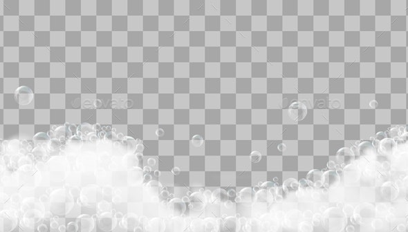 Soap Foam And Bubbles On Transparent Background - Backgrounds Decorative