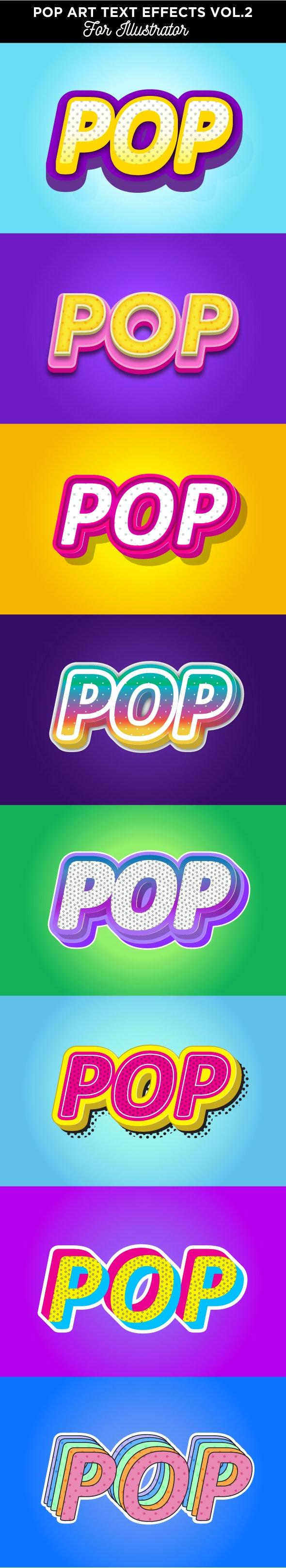 Pop Art Text Effects for Illustrator - Styles Illustrator