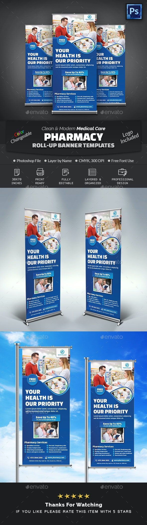 Pharmacy Medical Care Roll-Up Banner - Signage Print Templates