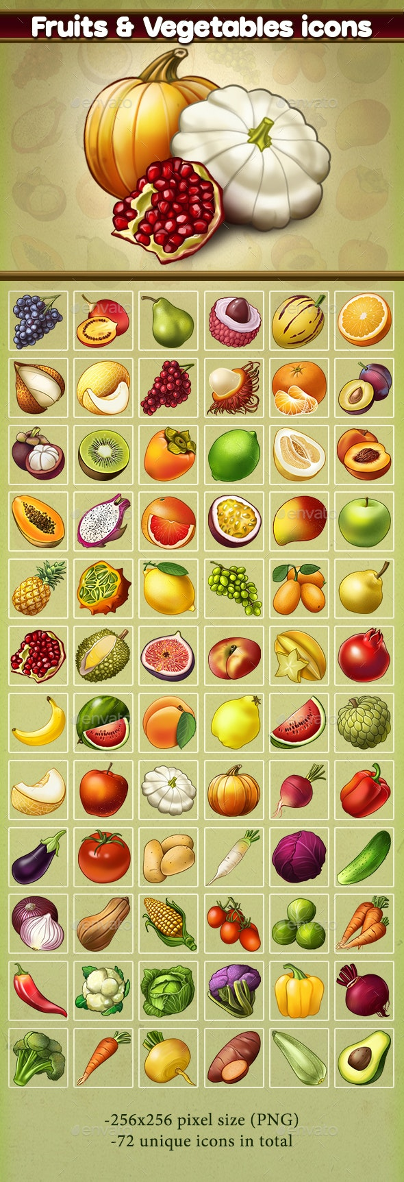 Fruits & Vegetables Icons - Miscellaneous Game Assets