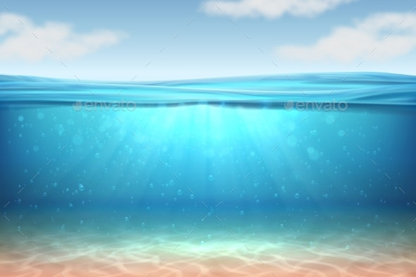 Realistic Underwater Background Ocean Deep Water - Landscapes Nature