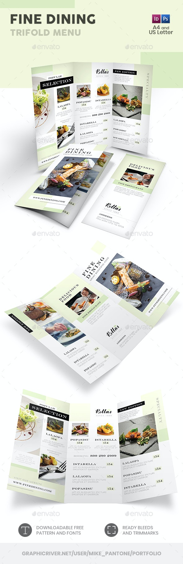 Fine Dining Trifold Menu - Food Menus Print Templates
