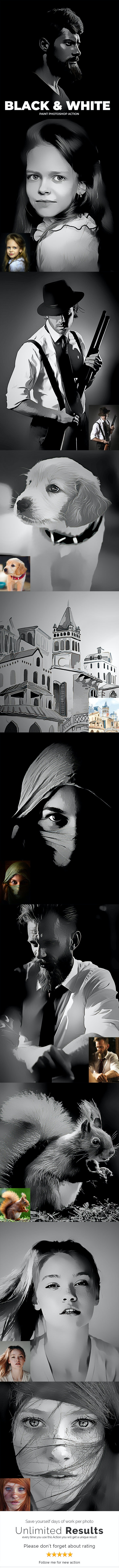 Black & White Paint Photoshop Action - Photo Effects Actions