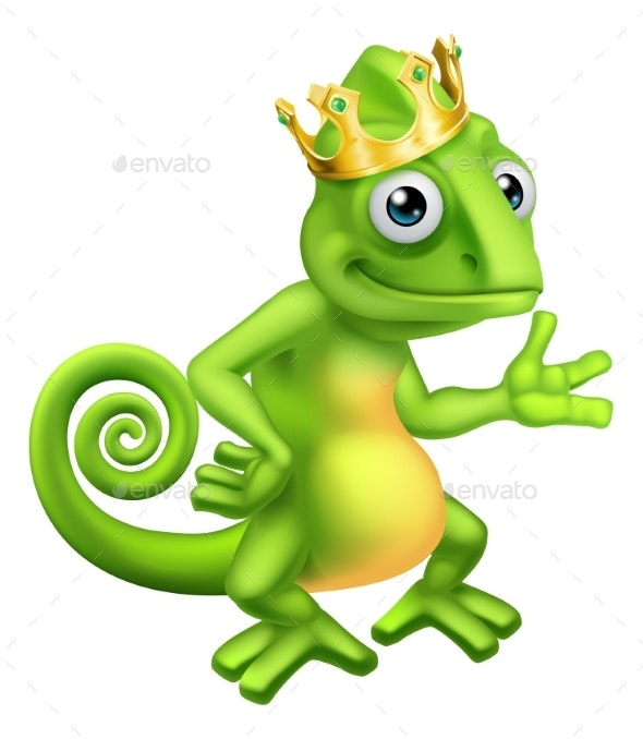 Chameleon King Crown Cartoon Lizard Character - Animals Characters