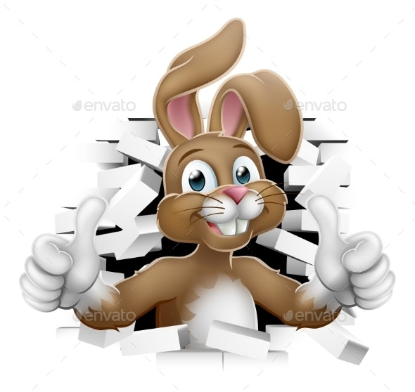 Easter Bunny Thumbs Up Coming Out of Background - Miscellaneous Seasons/Holidays