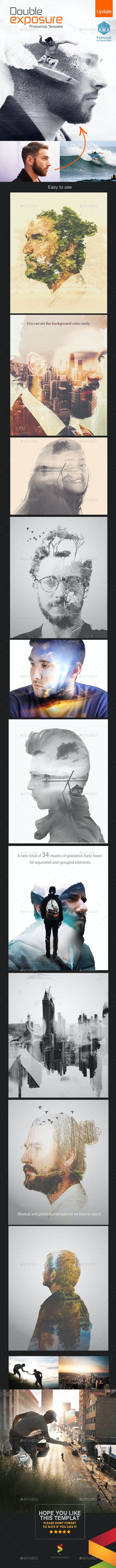 Double Exposure Photoshop Template - Artistic Photo Templates
