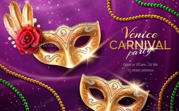 Mardi Gras Carnival Invite with Mask and Beads - Seasons/Holidays Conceptual