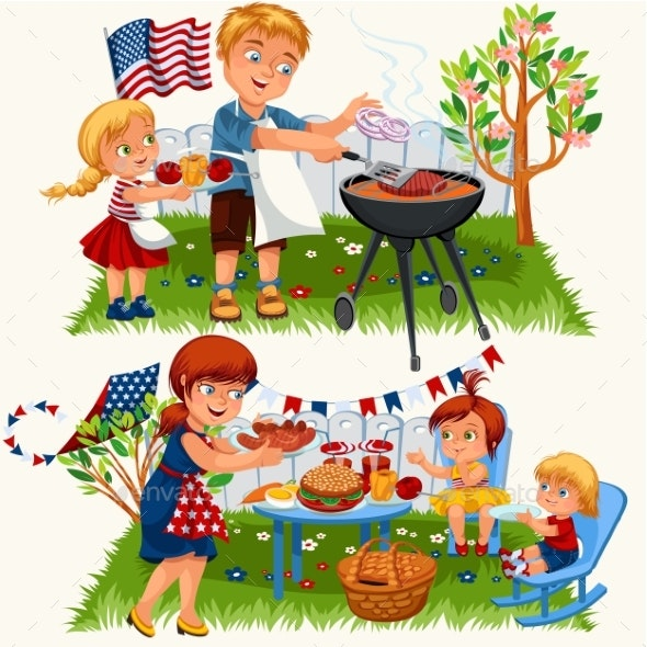 Summer Family Grill and Barbeque in Nature - People Characters