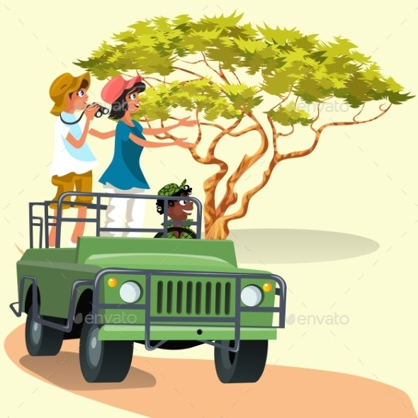 Couple Riding in the Car with Driver in the Zoo - Landscapes Nature