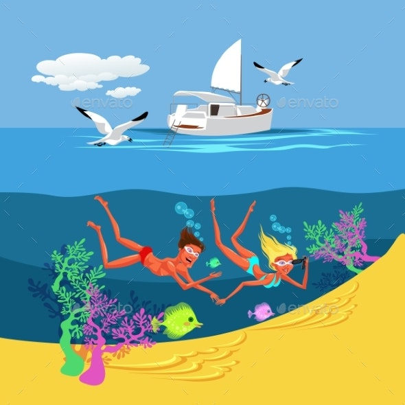 Cartoon Couple Swimming in Summer Sea - Landscapes Nature