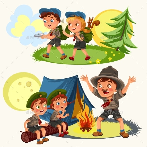 Cartoon Scouting Children Mentor Guides Outdoor - Landscapes Nature