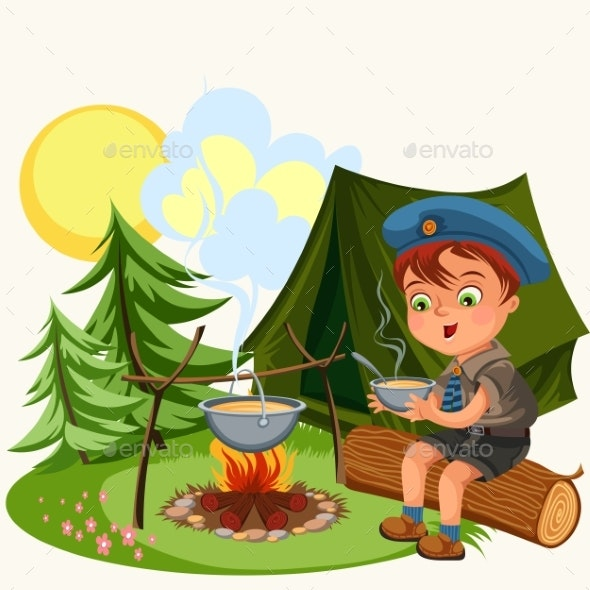 Cartoon Red-haired Boy Holding Bowl and Eating - Food Objects