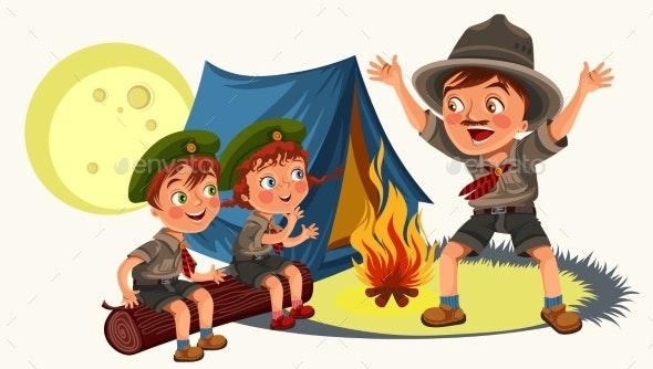 Cartoon Children Mentor Telling Interesting - Landscapes Nature