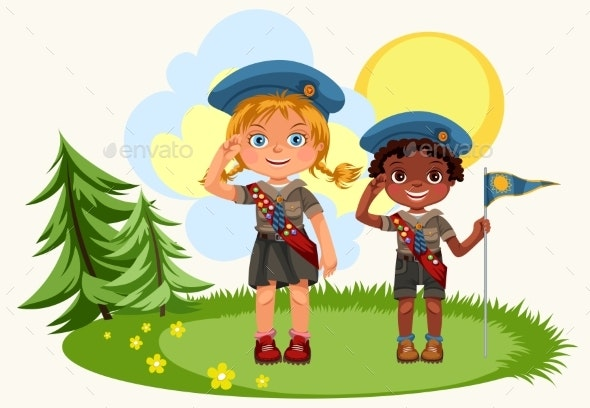 Girl and Boy Saluting Standing on Green Meadow - Landscapes Nature