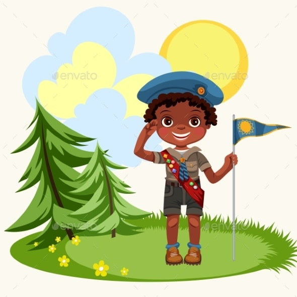 African American Boy Saluting Standing on Green - Landscapes Nature