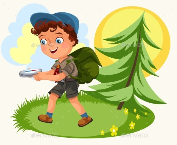 Cartoon Kids Following the Compass in Forest - Landscapes Nature