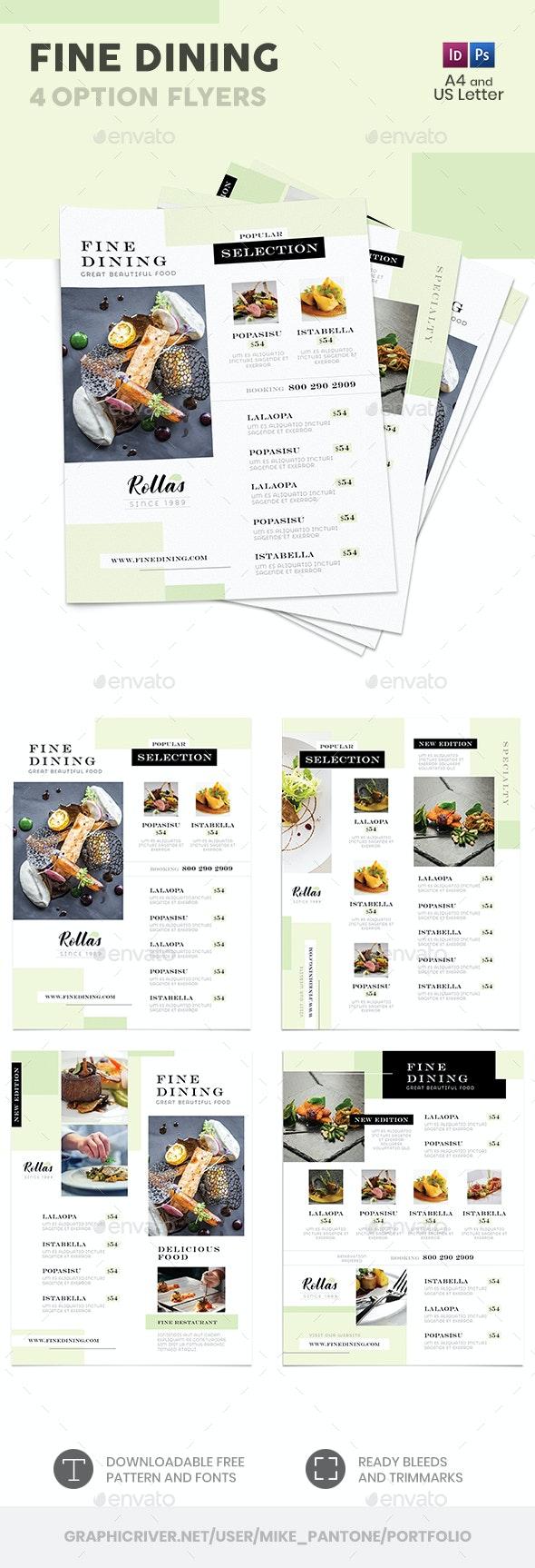 Fine Dining Menu Flyers – 4 Options - Food Menus Print Templates