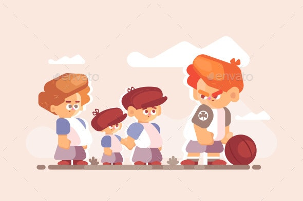 Boy Fighter with Good Kids Outside - People Characters