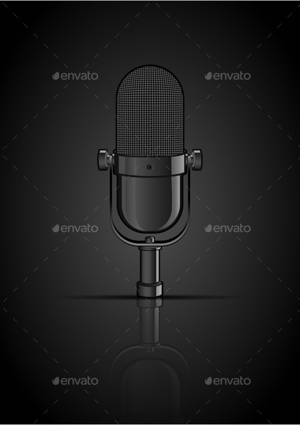 Vintage Black Microphone - Man-made Objects Objects