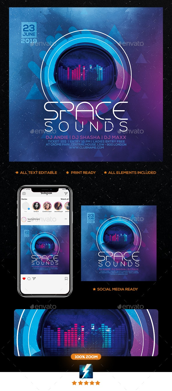 Space Sounds Party Flyer - Clubs & Parties Events