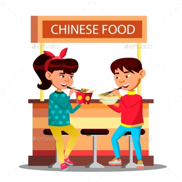Asian Kids Boy And Girl Eating With Chopsticks - People Characters
