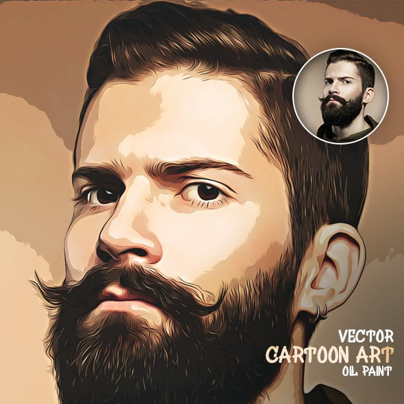 Cartoon Art Oil Paint Action