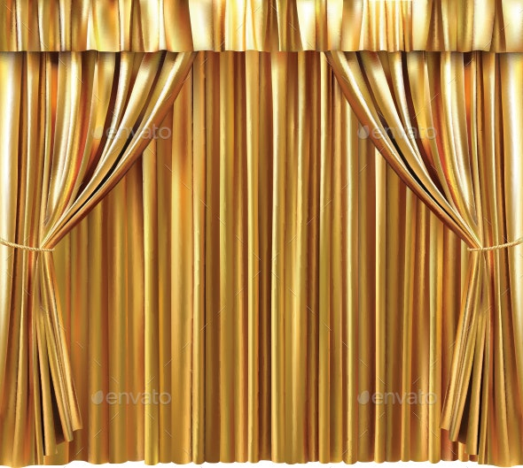 Background with Gold Curtain - Backgrounds Decorative