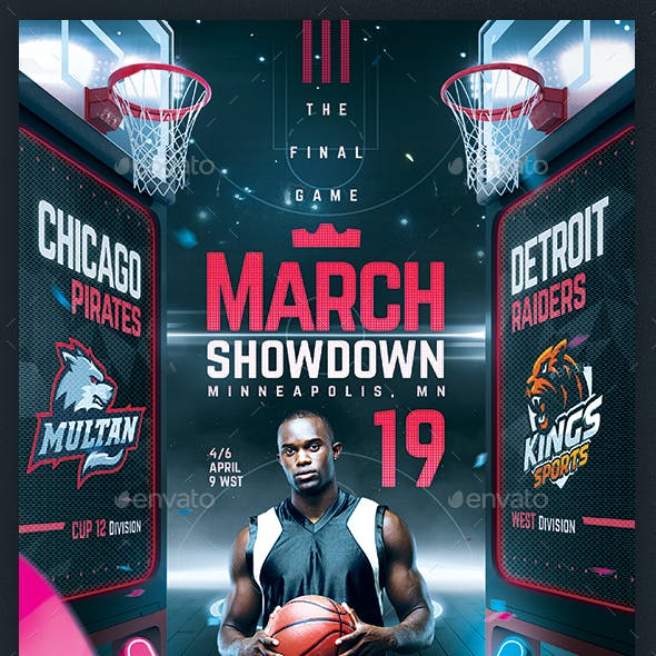 Basketball Madness Flyer College Hoops Final Game Template