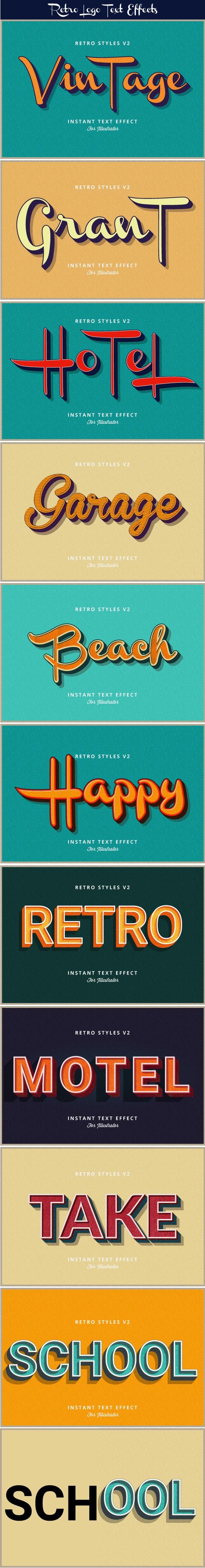 Retro Text Effects V2 - Styles Illustrator