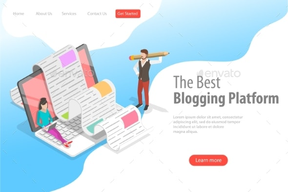 Isometric Vector Landing Page for Creative Blogging - Computers Technology